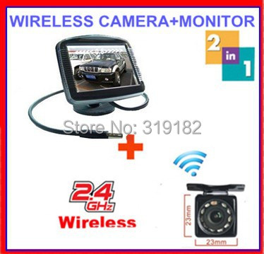 ФОТО parking sensor wireless 2.4ghz wireless camera RCA VideoTransmitter Receiver reverse camera connect 3.5 TFT LCD monitor