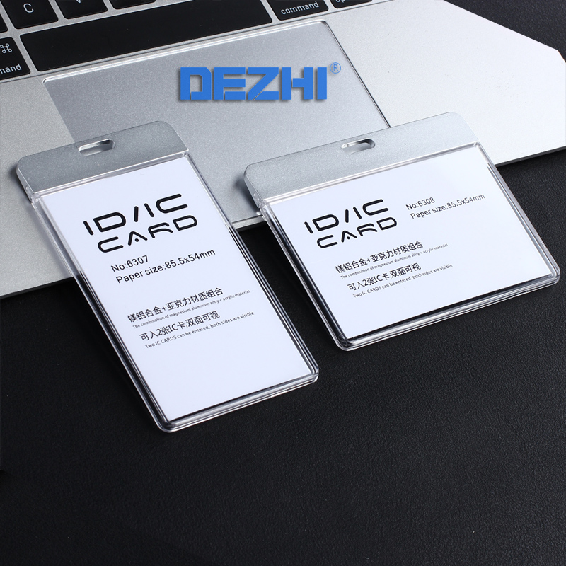 DEZHI-New Fashion ID IC Card Breakaway Badge Holder,Clear Badge Holder Work Card Without Lanyard,Acrylic with Metal Material