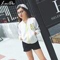 LouisDog 2016 Otoño fina chaqueta de béisbol juvenil y adolescente niños niñas blanco deportes outwear tamaño 6-16Y