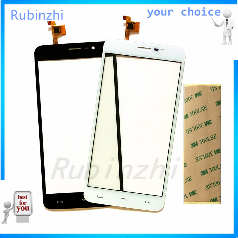 RUBINZHI Phone Touch Sensor For <font><b>Homtom</b></font> HT27 <font><b>HT</b></font> <font><b>27</b></font> Touch Screen Digitizer Panel replacement Front Glass+3m Sticker image