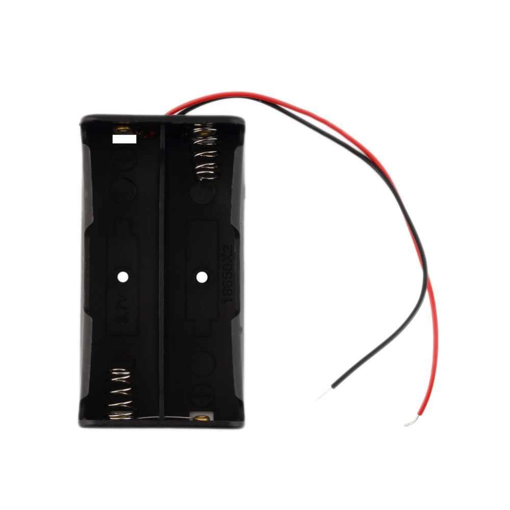 Caja de almacenamiento de batería de plástico Universal para 2 piezas 18650 baterías soporte de batería profesional con cables de alambre ¡envío directo!