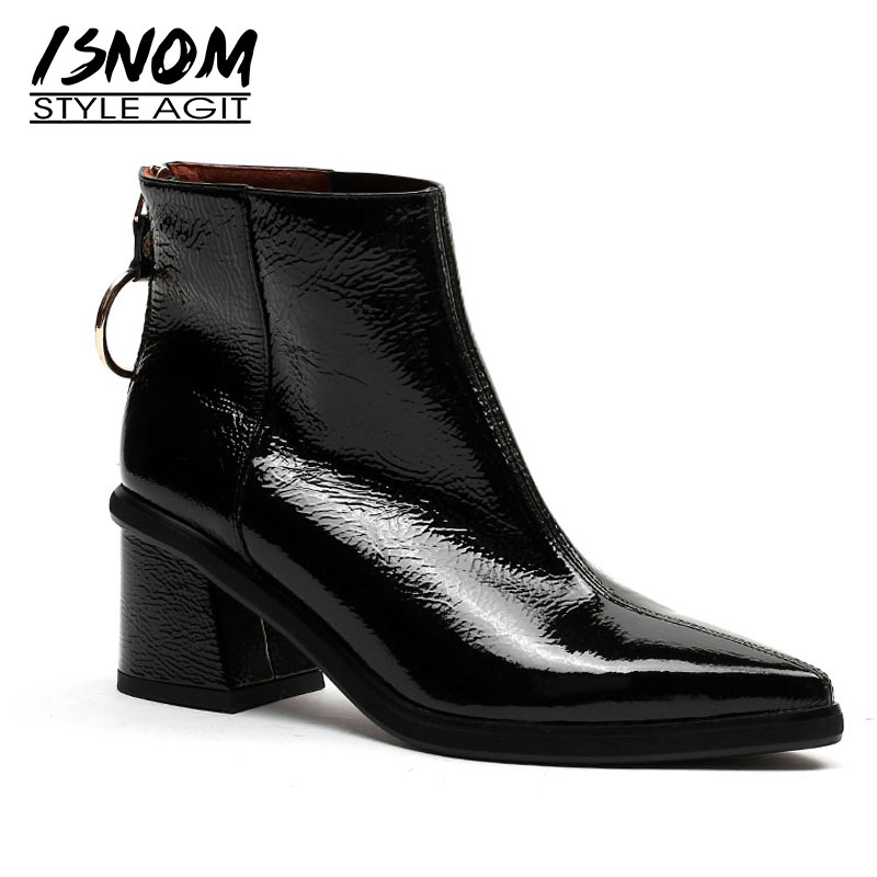 ISNOM Patent Leather Women Boots Winter Pointed Toe Footwear Zip Female Ankle Boot High Heels Platform