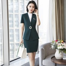 2ec2d7ad0a99 Formal Career Uniform Styles Blazers Suits With 2 Piece Tops And Skirt 2018  Summer Ladies Office