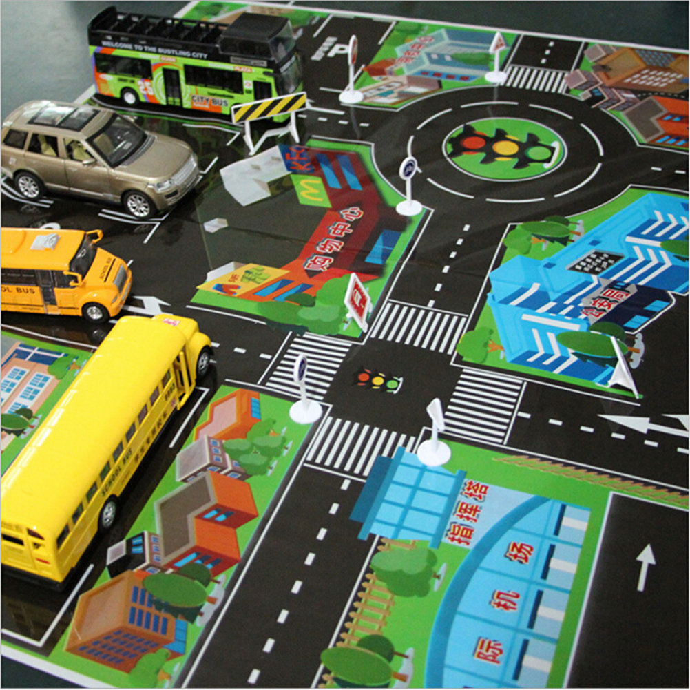 Children's Play Mat Carpet For Baby Thick Town City Traffic Baby Crawling Mat PVC Climbing Pad Green Road 70 * 70CM