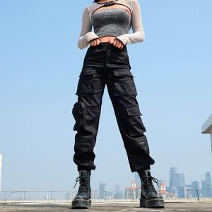 Image 2 - Sweetown מטען שחור מכנסיים נשים אופנה 2020 כיסי טלאי היפי מכנסיים מזויף רוכסן ארוג גבוהה מותניים מכנסיים Streetwear