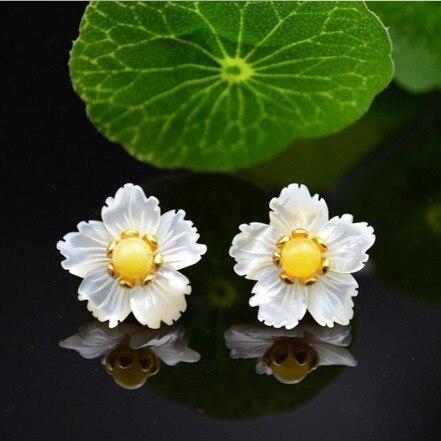 Argent s925 argent mode bijoux pour femmes conçu par perle naturelle fritillaria joker tempérament jaune boucles d'oreilles en pierre naturelle