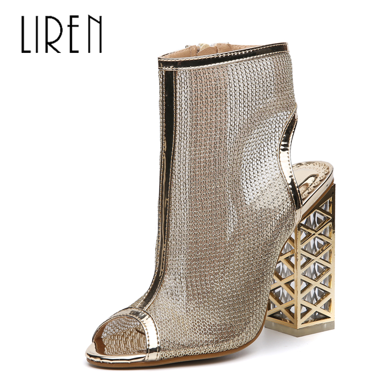 Liren Women Sandals High Heels Summer Square Heel PU Leather Rome Peep Toe Fashion Party Shoes Sandalia Feminina Size 35 43 in High Heels from Shoes