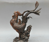 12 China Bronze Animal Chicken Rooster Crowing Rooster Sculpture Statue
