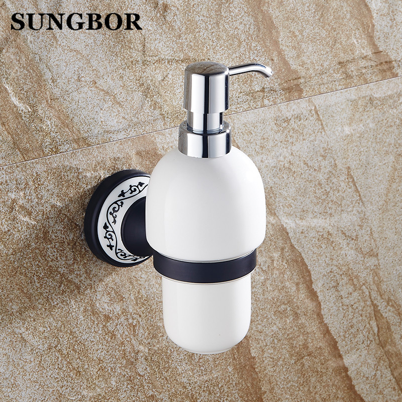 Free Shipping Luxury Wall Mounted Liquid Soap Dispenser With black Base+ceramic Container/bottle Bathroom products high QualityFree Shipping Luxury Wall Mounted Liquid Soap Dispenser With black Base+ceramic Container/bottle Bathroom products high Quality