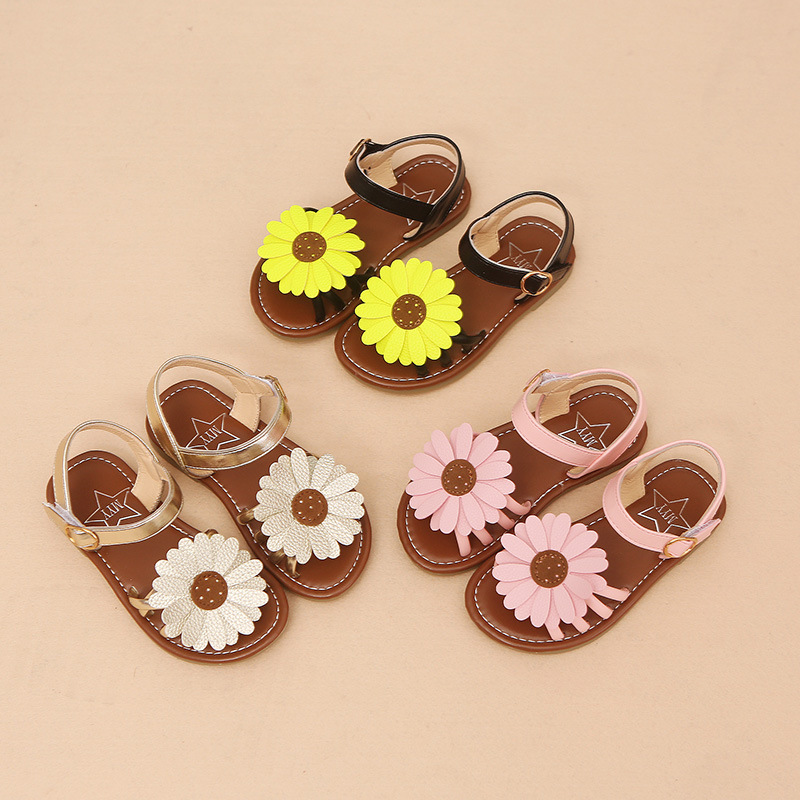 2018 New fashion high quality children shoes big flower baby girls sandals footwear high quality cute beautiful kids shoes