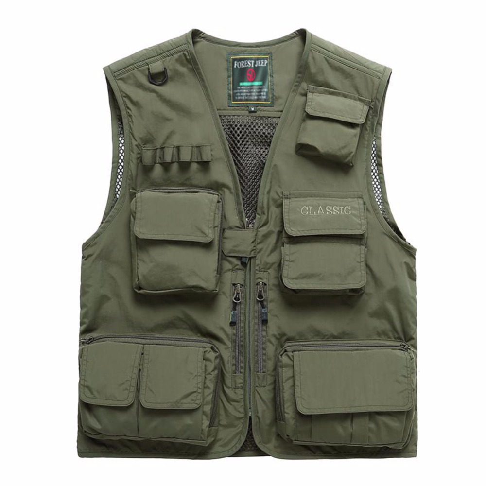 Summer Autumn Men Multifunctional Quick Drying Mesh font b Fishing b font Vest Jacket Loose Multi