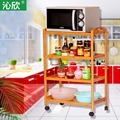 Cheap bamboo wood floor dining car movable multilayer pot rack kitchen shelving carts street vendors