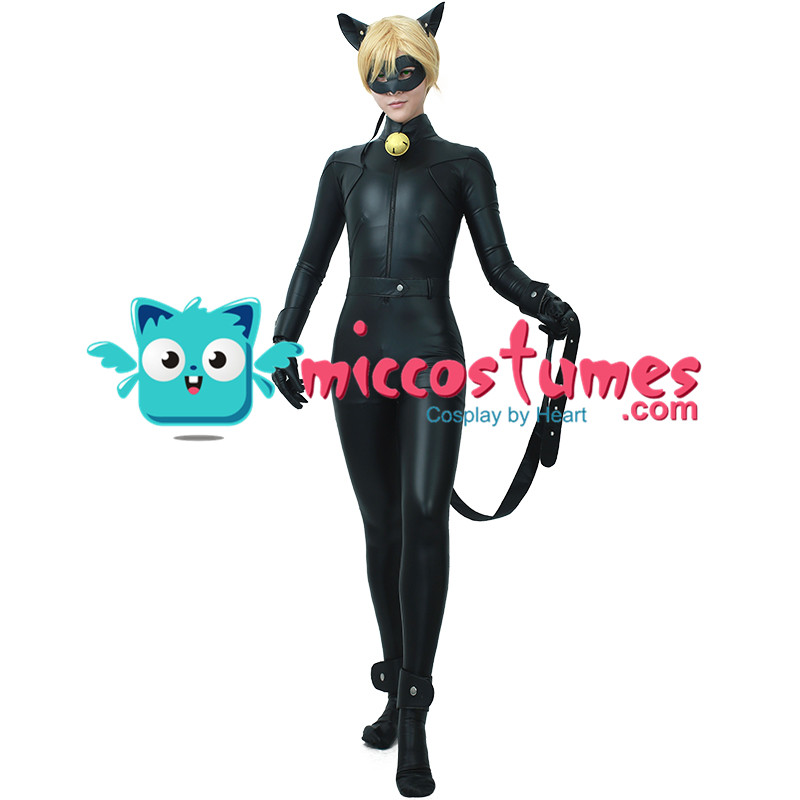 Black Cat Cosplay Costume Skin tight Catsuit Bodysuit with Eye Mask Cat Ears