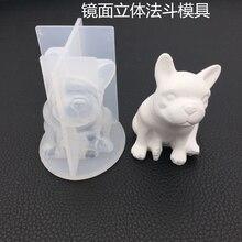 Crystal mirror bulldog aromatherapy gypsumn silicone mold