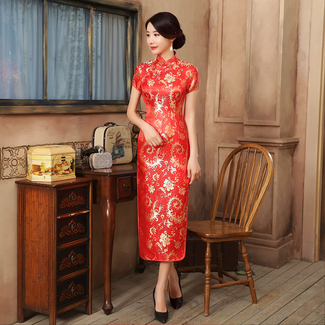 Sexy Red Satin Cheongsam Traditional Chinese High Quality Chinese Ladies' Qipao Silm Short Sleeve Novelty Long Dress S-2XL C0139