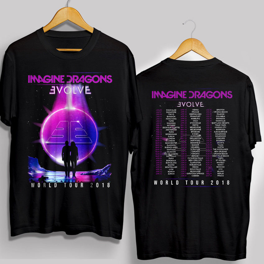 Imagine Dragons Evolve US World Tour 2018 Tour   T     shirt   Men two sides cotton casual gift tee USA Size S-3XL