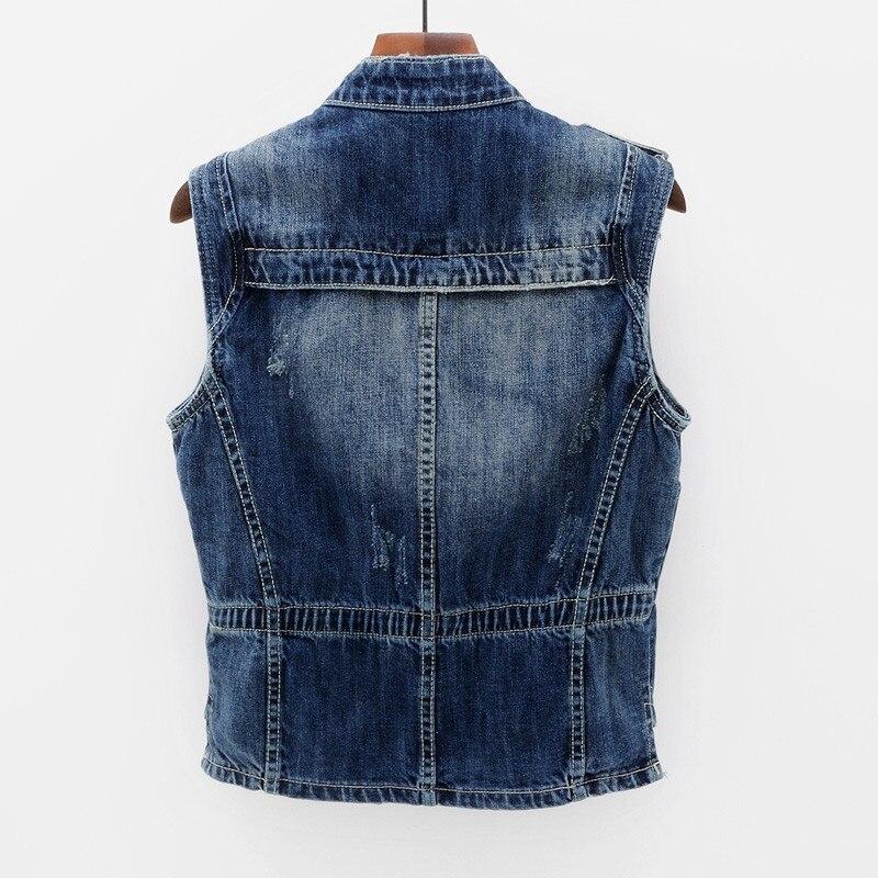 2018 Grande Dames Gilet Denim Veste Mince Femmes Blue Coréenne Manches Mode Jeans Vintage Femelle Printemps Élégant Taille Sans Iq0pUp