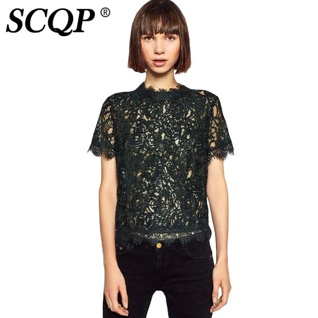 SCQP Floral Lace Zipper Black Blouse Ladies Fashion Mesh Short Women Tops And Blouses Army Autumn Casual Blusas Femininas 2016
