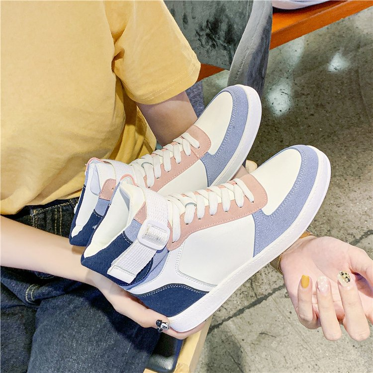 Mhysa 2019 Autumn Women Fashion Sneakers High Top Hook Loop Lace Up Platform Casual Shoes flat Heel Women's vulcanized shoes 39