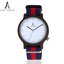 ALK Vision 100% Natural Mens Wood Watch with Canvas Strap Fa