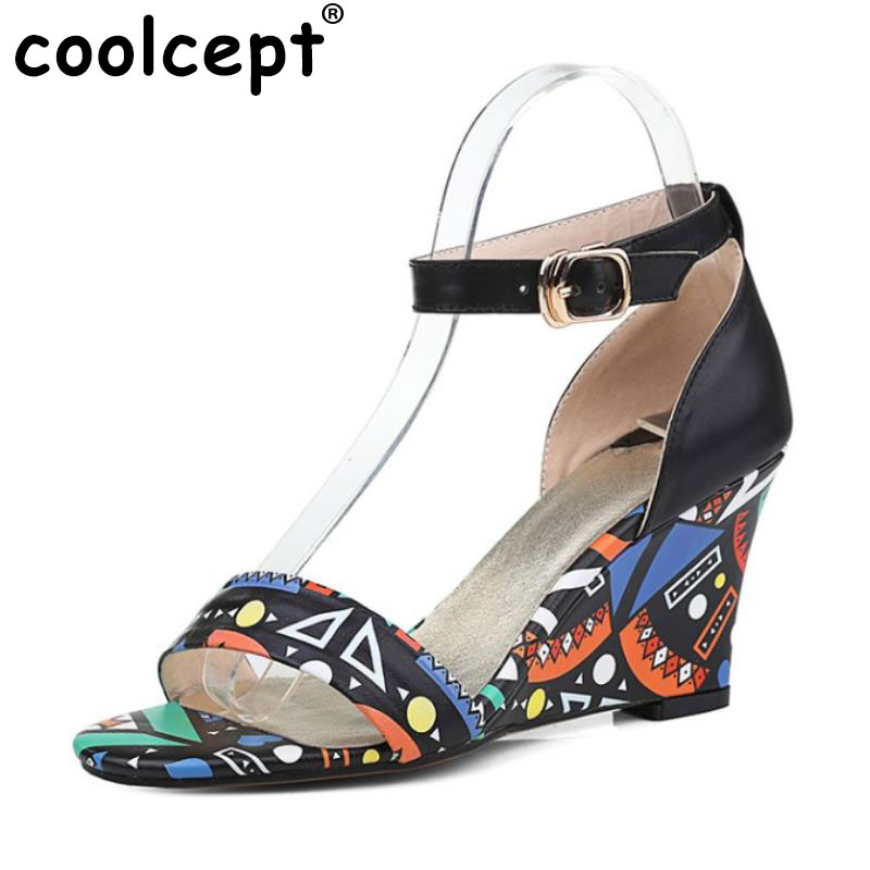 Coolcept Lady Real Leather Wedges Sandals Ankel Strap Print Summer Shoes Women Sandal Sexy Vacation Soft Footwears Size 33-42 stylesowner elegant lady pumps sandal shoe sheepskin leather diamond buckle ankle strap summer women sandal shoe
