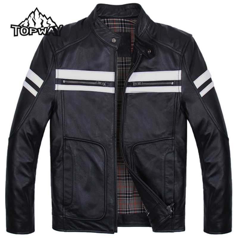 2016 Harley Fans Doudoune Homme Windproof Cappotto Warm Cowskin Coat Slim Fit Genuine Leather font b