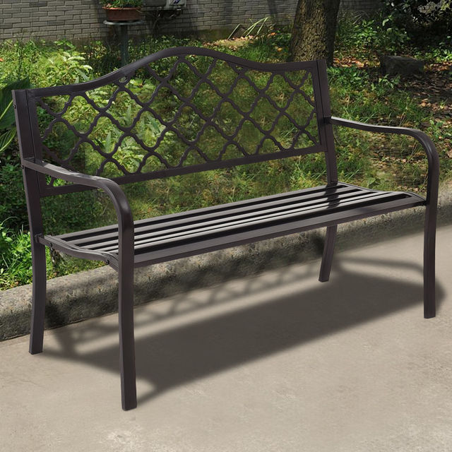 Giantex 50 Patio Garden Bench Loveseats Park Yard Furniture Decor Cast Iron Frame Black Outdoor Metal Op3136