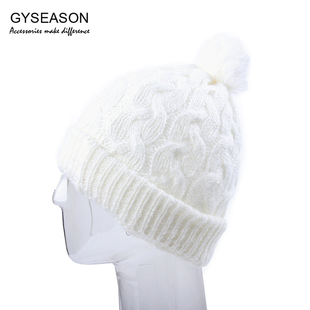 21fdcd2775e Hat For Women Cap White Winter Knitted Warm Pompom Ball Snow Cap New  Fashion Cute Girl Gorro Beanies Tuque Female Cap Winter Hat