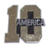 Number 10 sequined applique patch T-shirt or Bag decoration patch Vintage embroidered patch applique  2pcs/lot