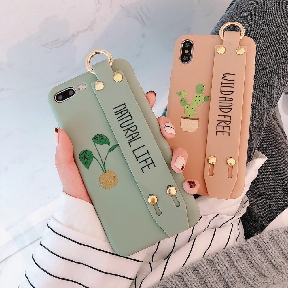 Para o iphone x xr xsmax cactus caso macio com alça de aperto caso silicone anel macio kickstand para iphone 6 s 7 8 plus capa