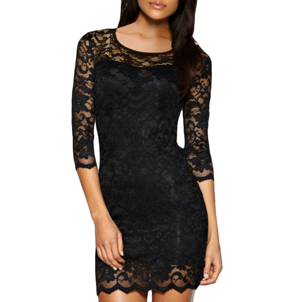 Anself Women Lace Mini Dress Elegant Office Ladies Sheer
