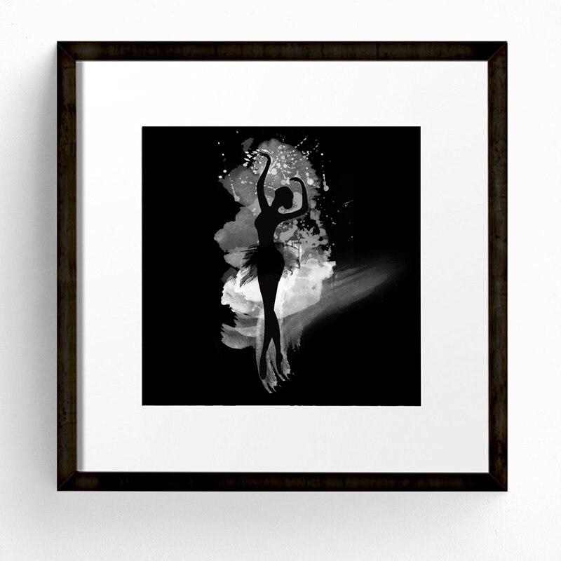 Aquarell Ballerina In Dance Leinwand Kunstdruck Poster, schwarz Und ...