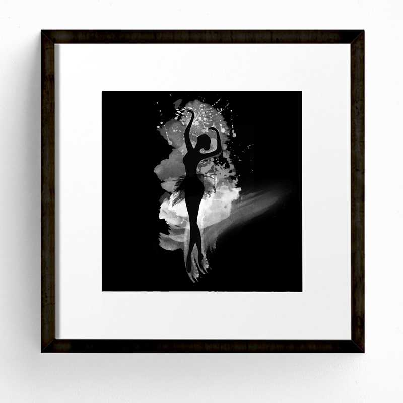 Watercolor Ballerina In Dance Canvas Wall Art Print Poster, Black And White Abstract Ballerina Dancer Poster Wall Pictures