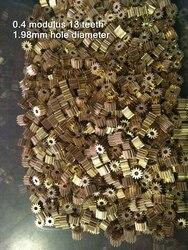 Módulo de engranaje de cobre de 13 dientes, 0,4 M, 13 T, 0,4mm, de 2 MM diámetro del orificio, 4x6 MM, 1,98