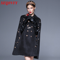 High Quality Diamond Button Women Black Tweed Coat 2017 Autumn Winter Shoulder Flower Embroidery Above Knee Length Lady Cape