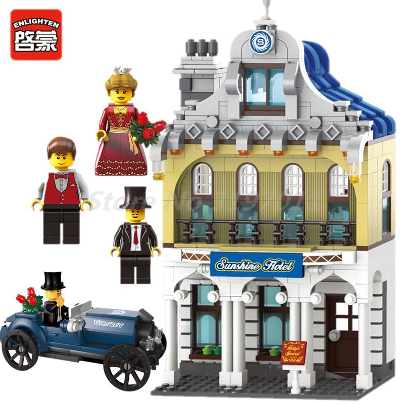 ENLIGHTEN 742Pcs City Sunshine Hotel Holiday Inn Antique Car Figure Building Block Model Sets Educational Toys For Children Gift loz mini diamond block world famous architecture financial center swfc shangha china city nanoblock model brick educational toys