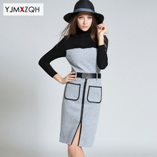 2016 Autumn Casual Wool knitted Sweater Bodycon Turtleneck Elastic Loose long sleeve Sexy Slim Winter office dresses big sizes