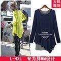 Moda otoño 2013 de gran tamaño modal faux de dos piezas de la camisa básica de manga larga T-shirt falda irregular