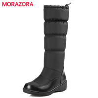 MORAZORA 2017 Fashion Keep Warm Down Snow Boots Thick Fur Inside Elastic Band Mid Calf Winter