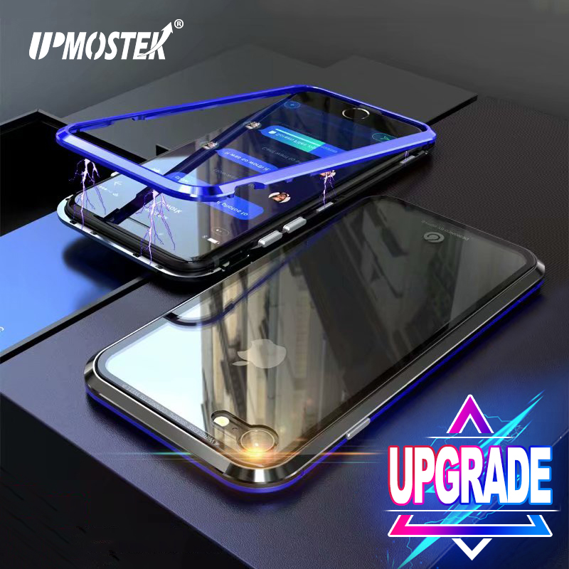 UPMOSTEK Magnetic Adsorption Case For iPhone X 8 7 Candy Color Conch Shell Phone Case For iPhone 7 8 Plus Tempered Glass Case