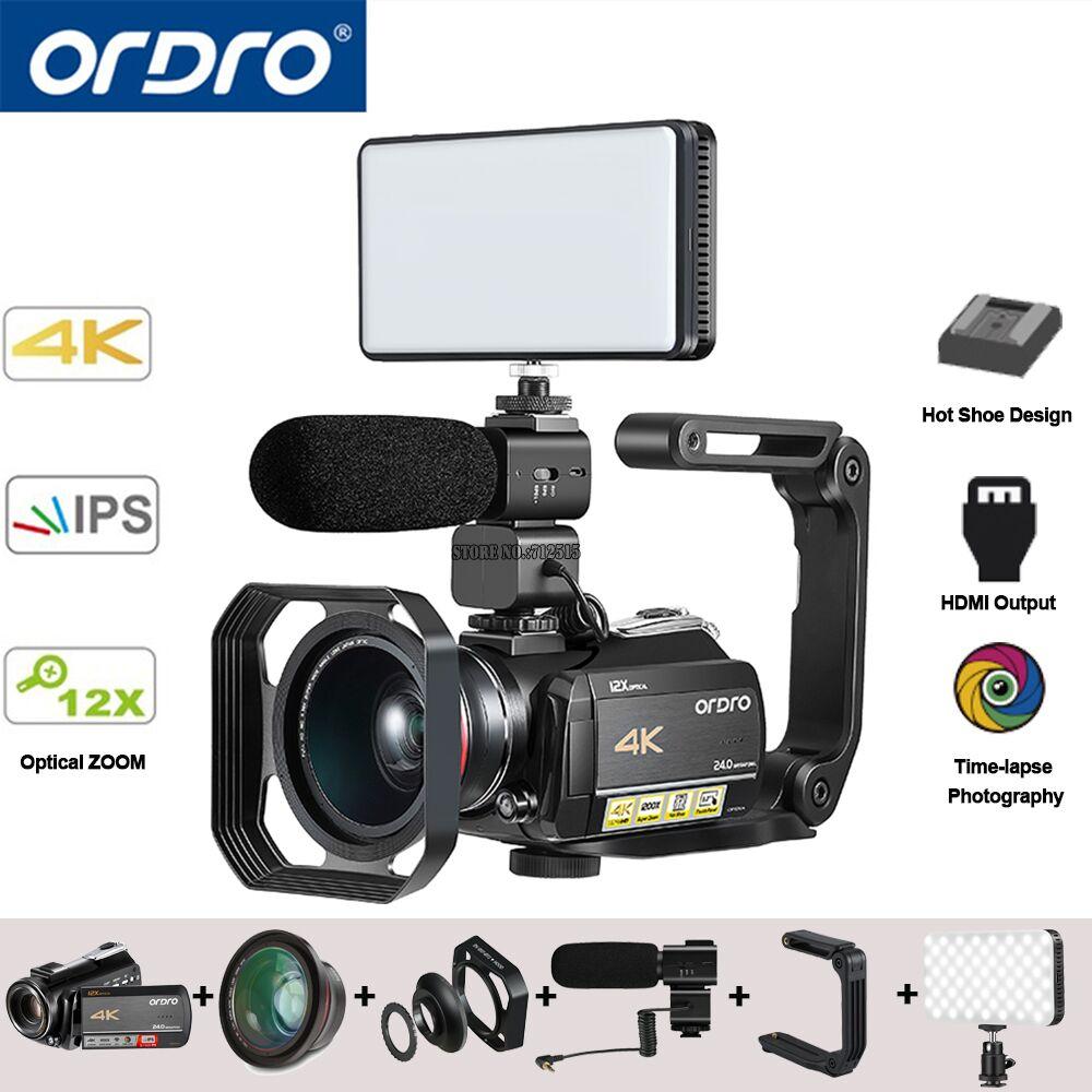 Ordro AC5 4 K UHD Numérique caméras vidéo Caméscopes FHD 24MP WiFi IPS écran tactile 100X Digtal Zoom 12X Optique DV mini caméscopes