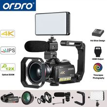 Ordro AC5 UHD 4 K Video cámaras digitales cámaras FHD 24MP WiFi IPS pantalla táctil 100X Digital Zoom 12X óptico mini DV videocámaras