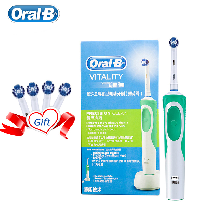 Oral B Electric Toothbrush 2D Clean Rotating Toothbrush Rechargeable Toothbrush Teeth Dual Clean Brush Heads 1