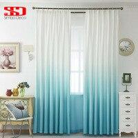 グラデーションカラーのリビングルーム綿ドレープ寝室用ブルー韓国カーテン生地+ボイルチュールウィンドウシェードパネ