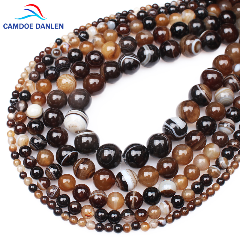 Engros Natural Stone Kaffe Striped Agates Chalcedony Round Perler 6 8 10 12MM Diy Char Armbånd Halskjede For Smykker Making