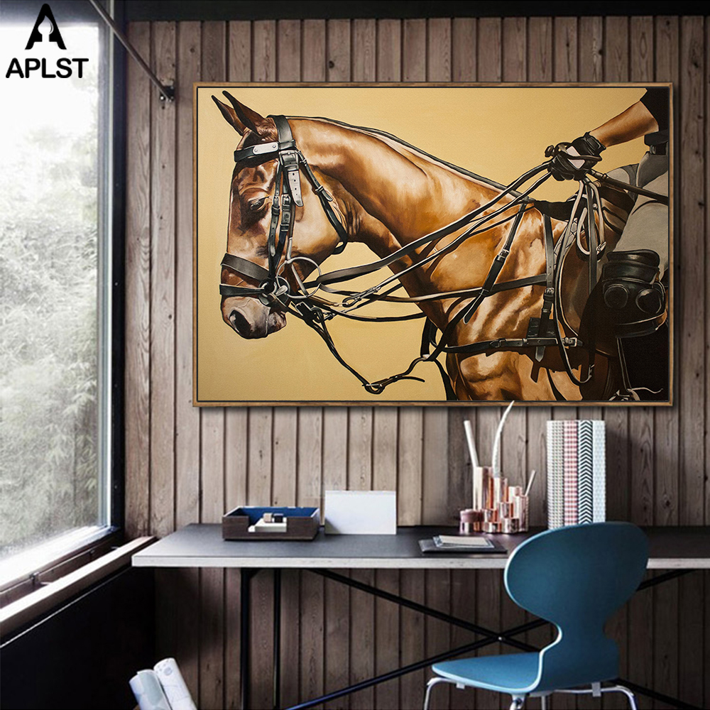 Large Wall Canvas Art Horse Racing
