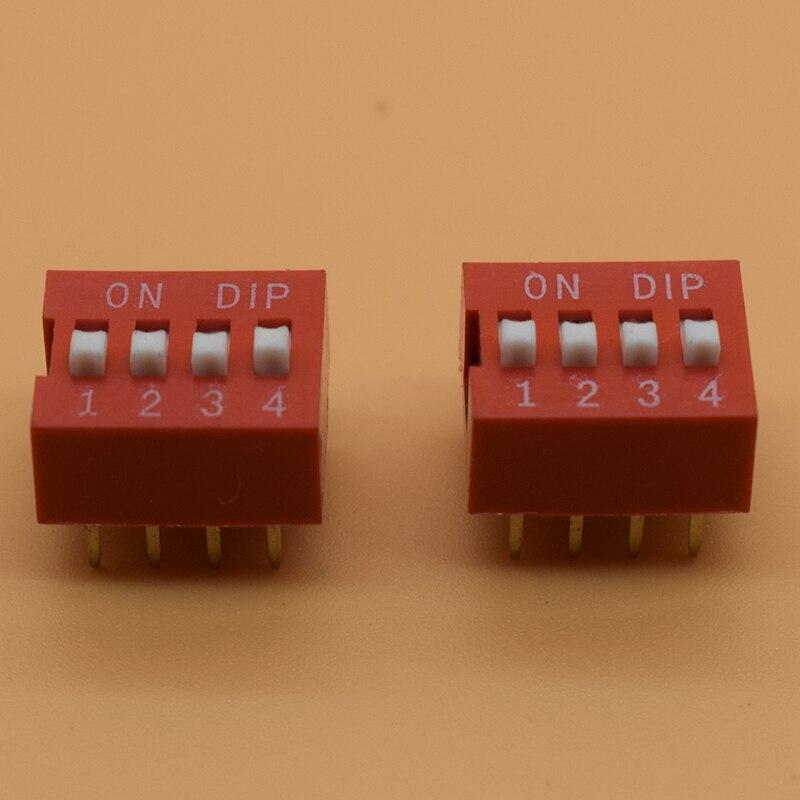 IMC Hot 10 Pcs 2 Row 8 Pin 4P Positions 2.54mm Pitch DIP Switch Red 10pcs red blue 2 54mm pitch slide type switch 1p 2p 3p 4p 5p 10p dip switch new