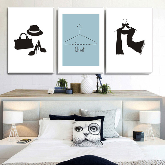 Black white nordic fashion clothing canvas painting wall art posters and print room decoration wall pictures