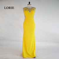 LORIE New Sexy Prom Dresses 2017 Real O Neck Beaded With Stones Yellow Long Mermaid Evening