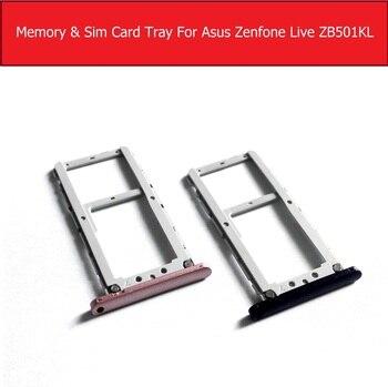"""Bandeja de tarjeta Sim original para Asus Zenfone LIVE ZB501KL, soporte conector de tarjeta SIM de 5,0 """", Material metálico, piezas de repuesto para reparación"""